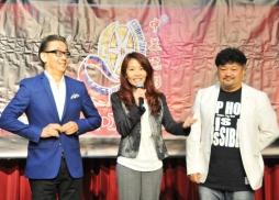 中美電影節開幕式暨金天使獎頒獎典禮主持人(左起)張宇基、王國蘭、洪劍濤出席新聞發佈會