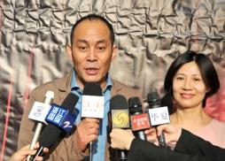 中國著名影視紅星張光北、陳煒接受媒體訪問