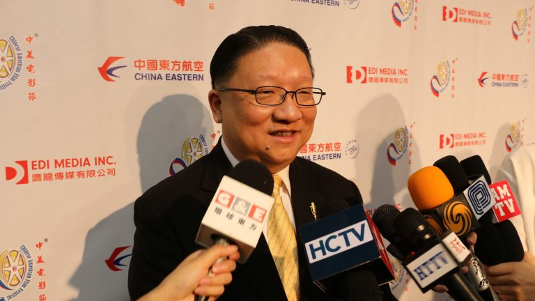 President of CAFF and Chairman of EDI Media, James Su, taking interview